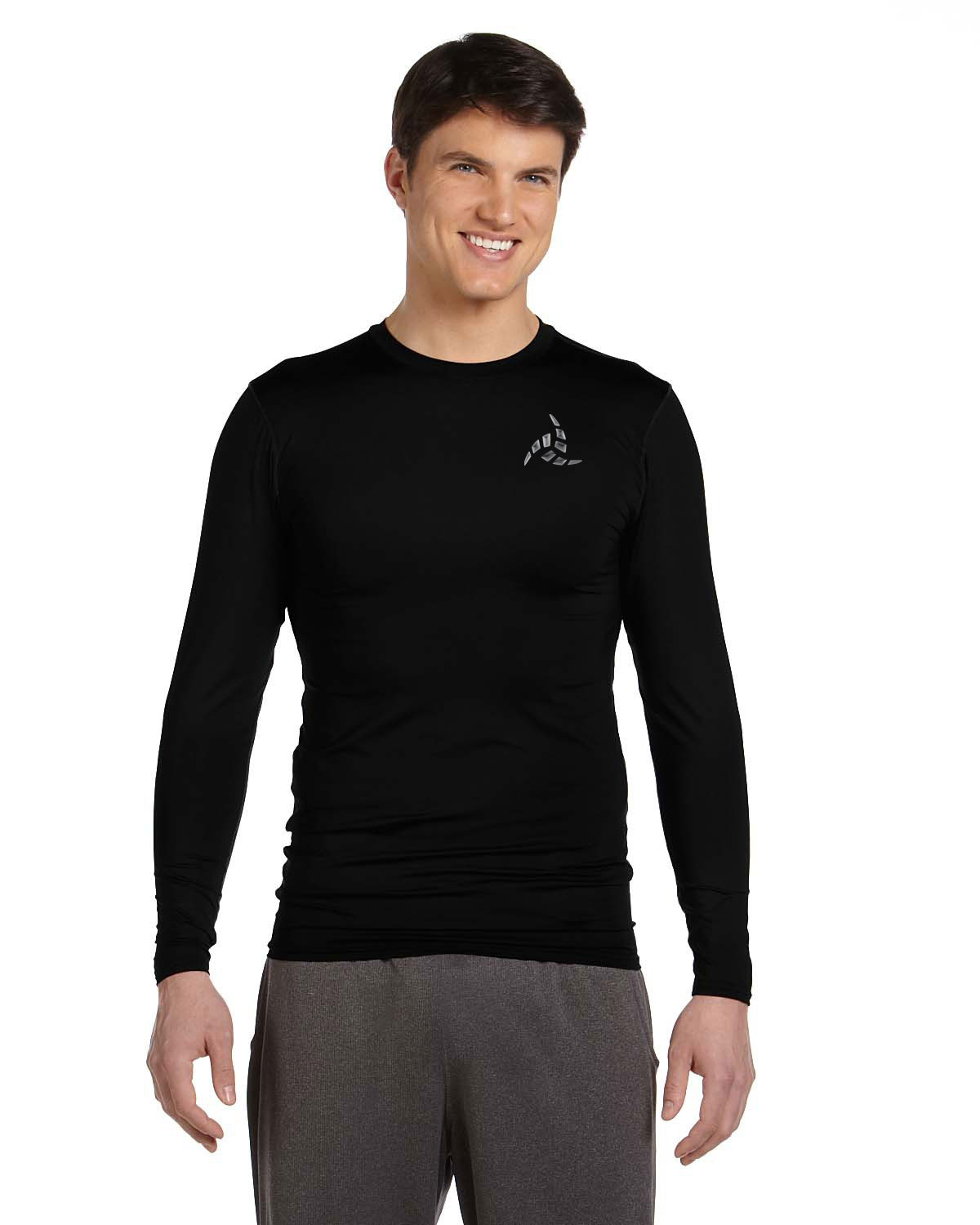 Men 39 s alo sport compression long sleeve t shirt shadows for Long sleeve sports shirt